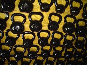 lots of kettlebells
